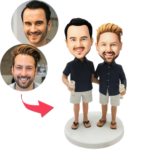 Custom Casual Same-sex Male Couple Bobbleheads With Engraved Text