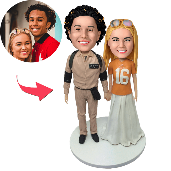 Custom Casual Couple Bobbleheads With Engraved Text