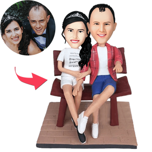 Custom Couple In The Chair Bobbleheads With Engraved Text