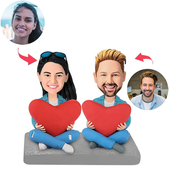 Custom Heart Couple Bobbleheads With Engraved Text