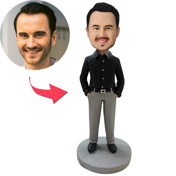 Custom Business Casual Male C Bobbleheads With Engraved Text