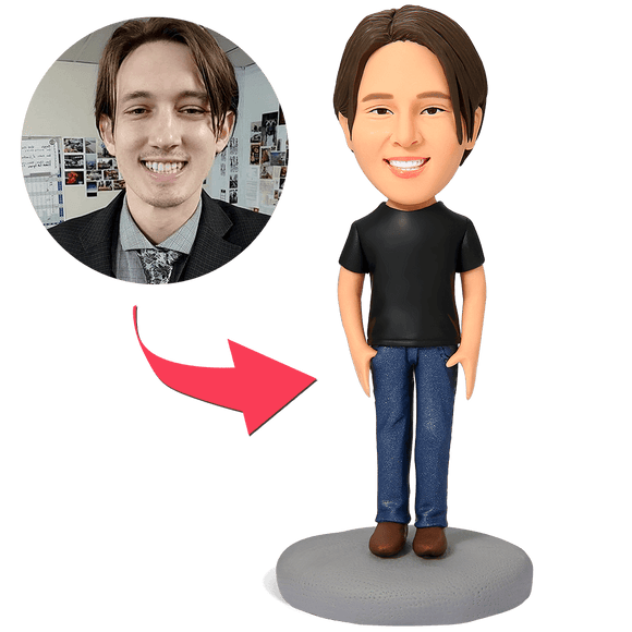 Custom Casual Male in Jeans Bobbleheads With Engraved Text
