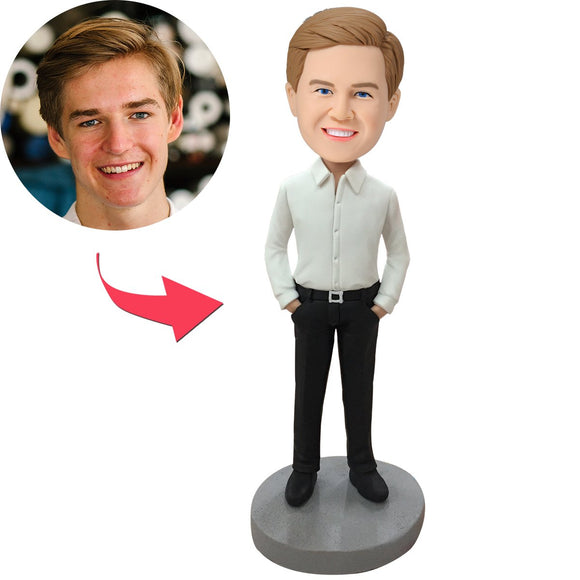 Custom Business Casual Male B Bobbleheads With Engraved Text