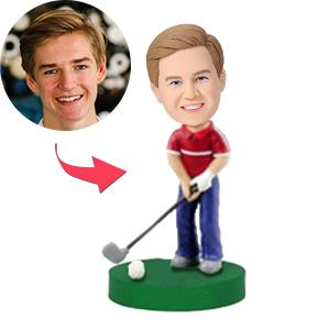 Custom Golfer With Club Bobbleheads