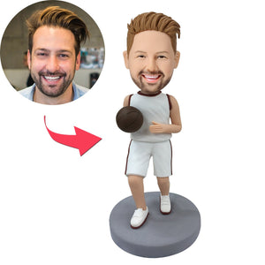 Custom Basketball Player Dribbling With White Uniform Bobbleheads