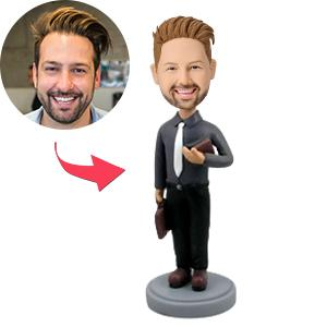 Custom teacher With Briefcase and Book Bobbleheads