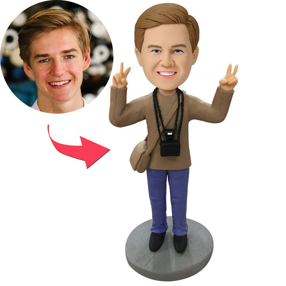 Custom Cameraman Bobbleheads With Engraved Text