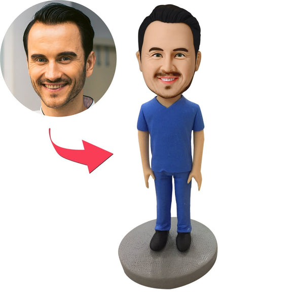 Custom Male Medical Professional in Blue Scrubs Bobbleheads