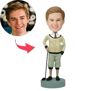 Custom Golfer In Traditional Attire Bobbleheads