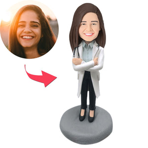 Custom Female Doctor in Lab Coat with Stethoscope Bobbleheads