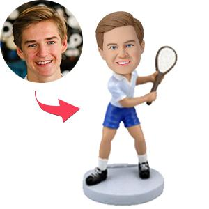 Custom Tennis Player In Backswing Bobbleheads