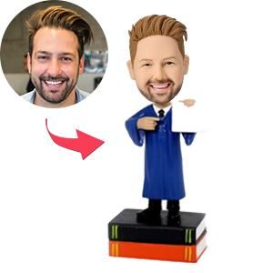 Custom Male Graduate Displaying Diploma Bobbleheads