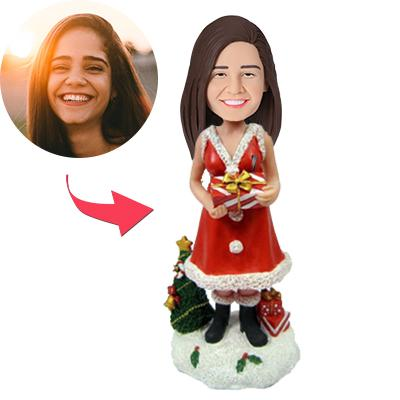 Custom Christmas Gift Lady with Gifts Bobbleheads With Engraved Text