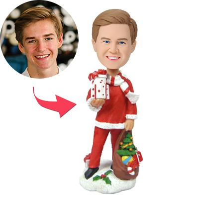 Custom Christmas Gift Santa's Male Helper Bobbleheads