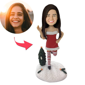 Custom Christmas Gift Sexy Christmas Woman Saying Hi Bobbleheads