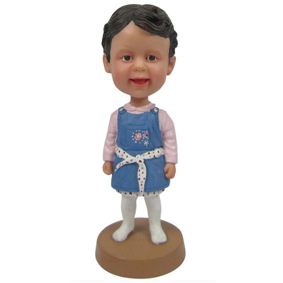 Custom Little Girl In Blue Dress Bobbleheads