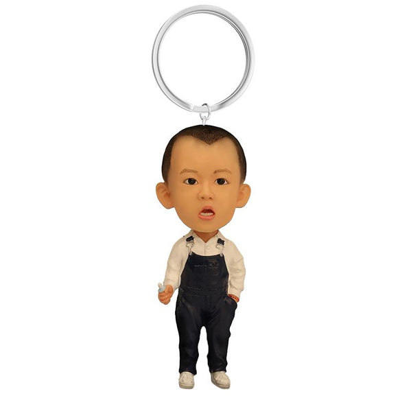 Custom Small Boy With Overalls Bobbleheads Key Chain