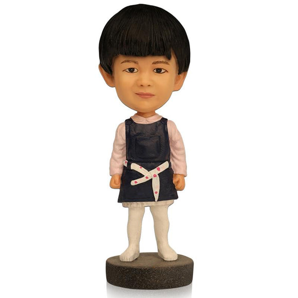 Custom Cute Girl With Dark Blue Skirt Bobbleheads With Engraved Text