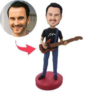 Custom Guitar Player Bobbleheads With Engraved Text
