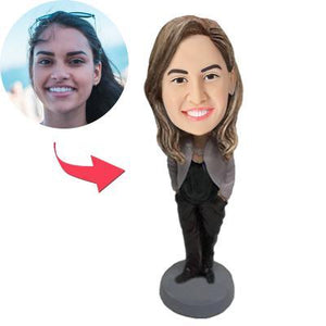 Custom Female In Business Wear Bobbleheads With Engraved Text