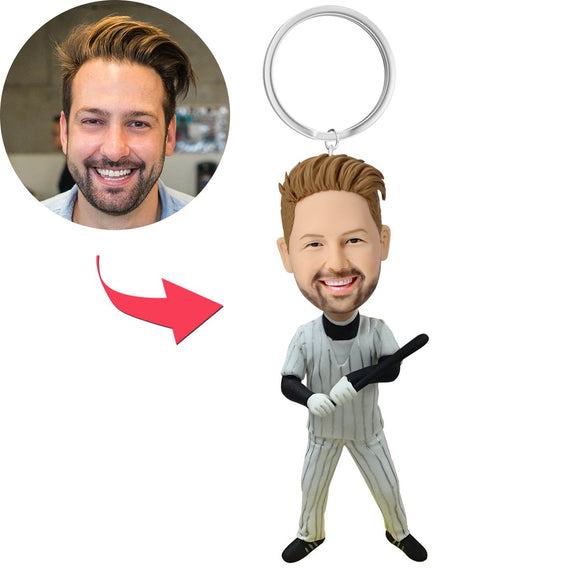 Custom Baseball Batsman With Baseball Bat Bobbleheads Key Chain