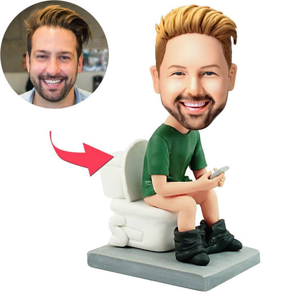 Custom The Man On The Toilet Bobbleheads With Engraved Text