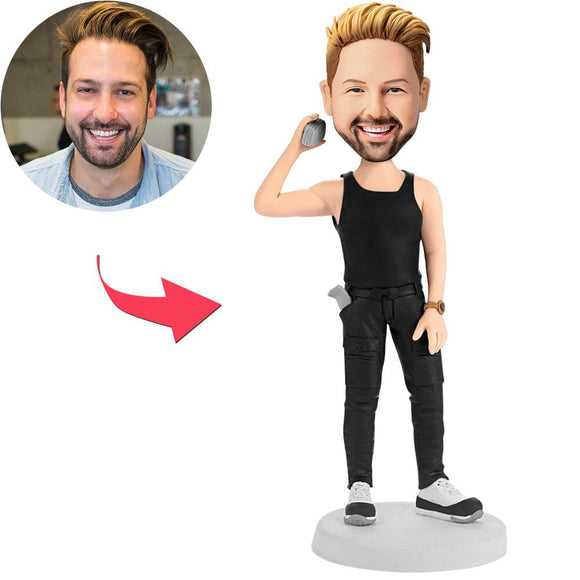 Custom Man Holding A Phone Bobbleheads