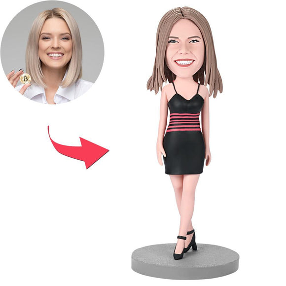 Custom Female Wearing A Black Dress Bobbleheads