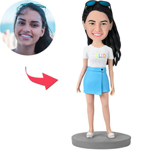 Custom Fashion Girl Wearing Blue Skirt Bobbleheads