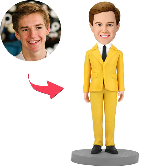 Custom Modern Man In Yellow Suit Bobbleheads With Engraved Text