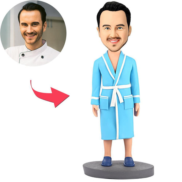 Custom Modern Man In Blue Pajamas Bobbleheads With Engraved Text