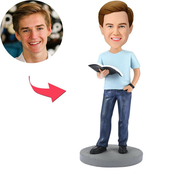 Custom Modern Reading Book Man Bobbleheads