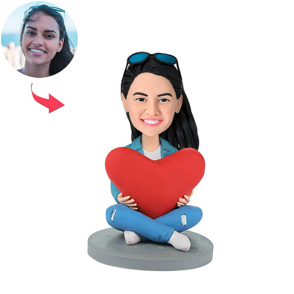 Custom Heart Women Bobbleheads With Engraved Text