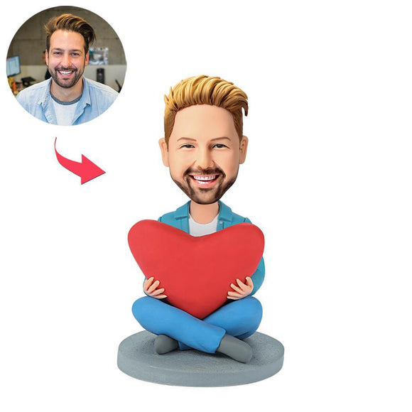 Custom Heart Man Bobbleheads With Engraved Text