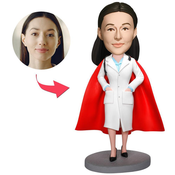 Custom Super Female Doctor With White Coat Bobbleheads With Engraved Text