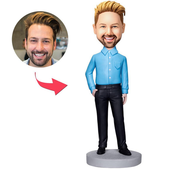 Custom Executive Man In Blue Shirt Bobbleheads