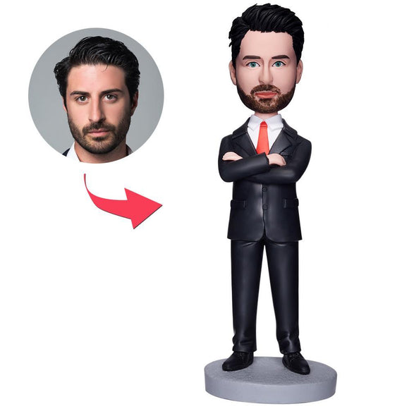 Custom Business Man Arms Folded Bobbleheads
