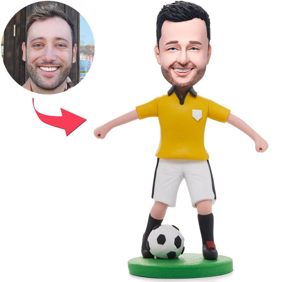 Custom Soccer/football Player Dribbling In Yellow Shirt Bobbleheads With Engraved Text