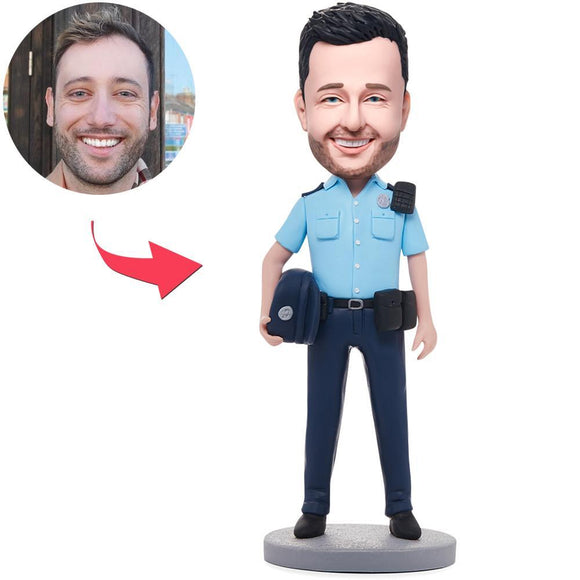 Custom Male Police Officer Bobbleheads With Engraved Text