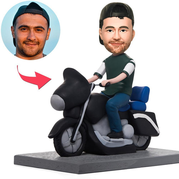 Custom Cool Man On Motorcycle Bobbleheads