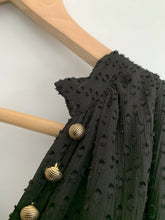Load image into Gallery viewer, (Preloved) NATASHA THE LABEL Oversized Textured Gold Button Fluted Dress Size S 10 12