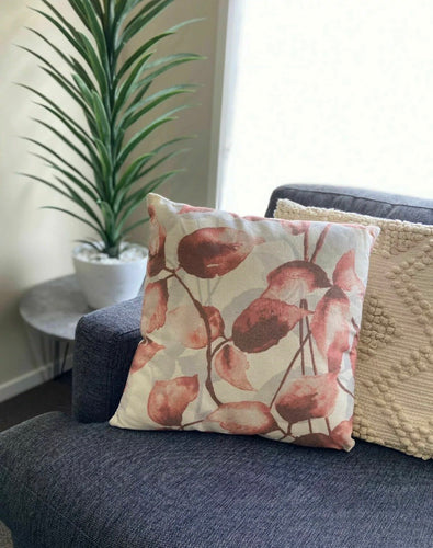 LINEN blend Beautiful Dusty Rose Floral Leaf Print Cushion Cover And Insert