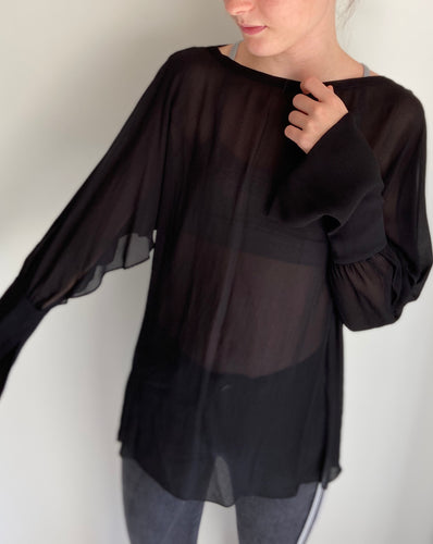 (Preloved) MANNING CARTELL detailed Long Sleeve Chiffon Blouse Top 6-8