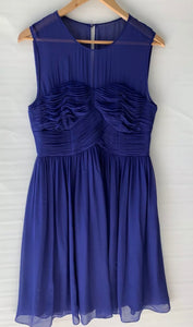 JIGSAW stunning amazing Royal Blue Detailed A Line Silk Dress Size 12