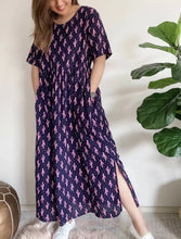 Load image into Gallery viewer, SILVER WISHES Linen Blend Cactus Pocket Midi Maxi Dress Size 6-8 BNWT