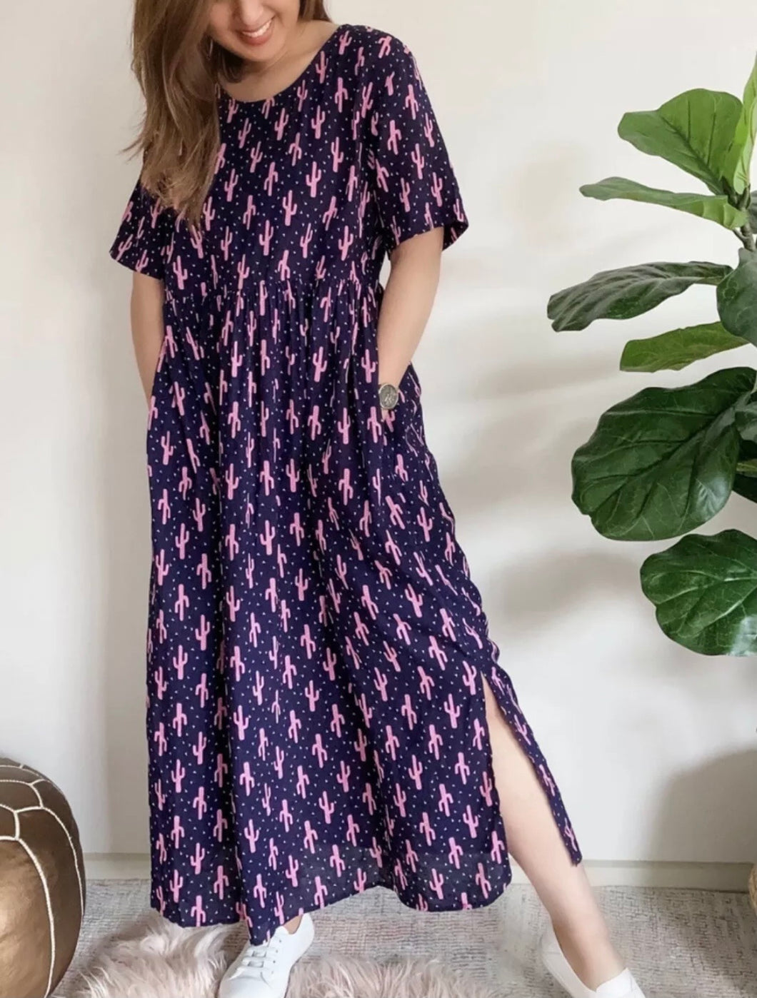 SILVER WISHES Linen Blend Cactus Pocket Midi Maxi Dress Size 6-8 BNWT