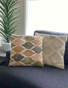 LINEN blend Beautiful Textured Print Cushion Cover And Insert