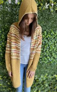 HADDIE gorgeous mustard hooded boho cardigan One size NEW