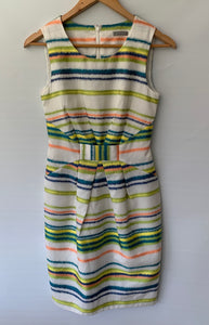 JIGSAW amazing Multi Coloured Striped Pencil Dress Size 6