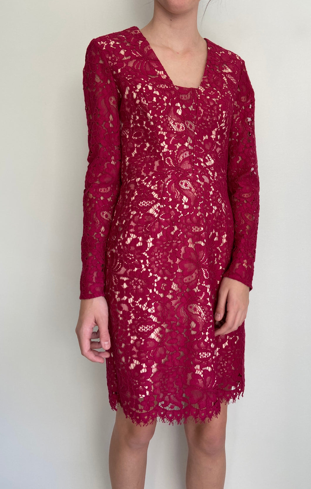 RODEO SHOW stunning wine coloured long sleeve lace pencil dress size 8 BNWT $369